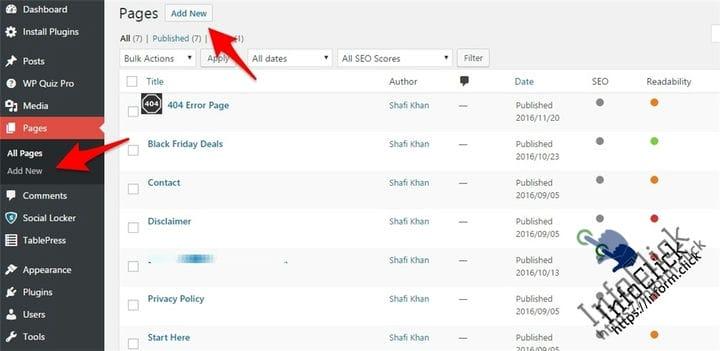 Как добавить новую страницу в WordPress